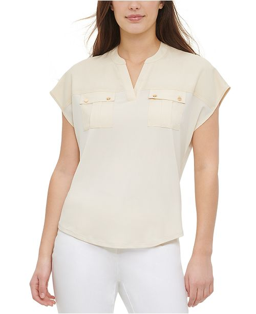 Calvin Klein Mixed-Media Pocket Top