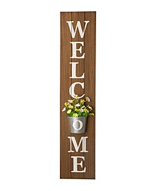 "42"" H Wooden Welcome Porch Sign with Metal Planter"