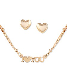 Gold-Tone I Heart You Collar Necklace & Stud Earrings Set