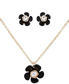 "Gold-Tone 2-Pc. Set Jet Black Flower Stud Earrings & Pendant Necklace, 18"" + 2"" extender"