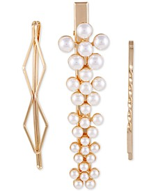 Gold-Tone 3-Pc. Set Imitation Pearl Hair Pins & Alligator Clip