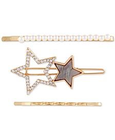 Gold-Tone 3-Pc. Set Imitation Pearl & Crystal Hair Pins