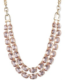 """Gold-Tone Stone Double-Row Collar Necklace, 16"""" + 3"""" extender"""