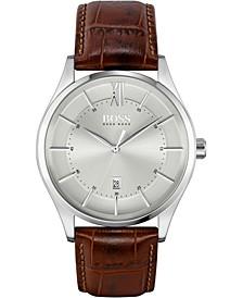Men's Distinction Brown Leather Strap Watch 42mm