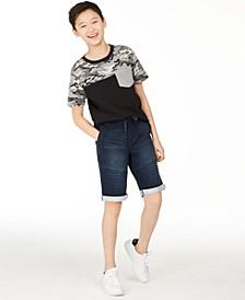 Big Boys Camo Colorblocked Pocket T-Shirt & Stretch Denim Moto Shorts, Created for Macy's