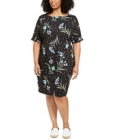 Plus Size Printed Elbow-Sleeve Dress, Created for Macy's
