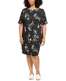 Karen Scott Plus Size Printed Elbow-Sleeve Dress, Created for Macy's