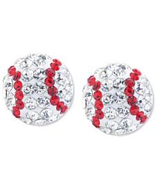 Crystal Baseball Stud Earrings in Sterling Silver
