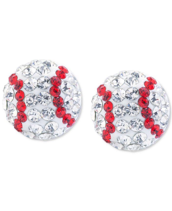 Giani Bernini - Crystal Baseball Stud Earrings in Sterling Silver