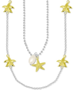 Freshwater Pearl (9mm) & Starfish Layered Statement Necklace in Fine Silver-Plate & Gold-Plate