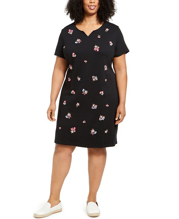 Karen Scott Plus Size Embroidered Split-Neck Dress, Created for Macy's
