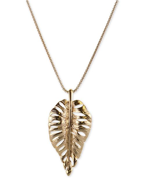 "Charter Club Gold-Tone Leaf 37"" Pendant Necklace, Created For Macy's"