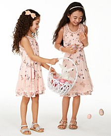 Little & Big Girls Butterfly-Print Challis Dress Separates, Created for Macy's