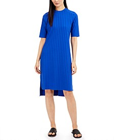 Ribbed Mock-Neck Drop-Hem Dress
