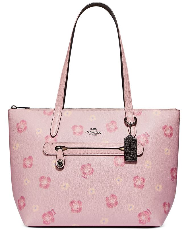COACH Taylor Pansy Print Leather Tote