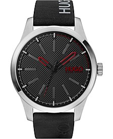 Men's #Invent Black Leather Strap Watch 46mm
