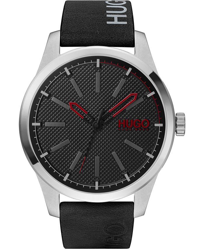 HUGO - Men's #Invent Black Leather Strap Watch 46mm