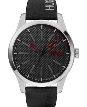 Hugo Men's #Invent Black Leather Strap Watch 46mm