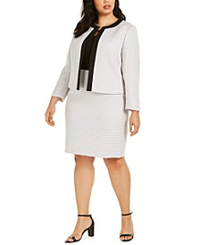 Plus Size Tweed Contrast-Trim Dress Suit