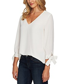 Tie-Cuff V-Neck Top