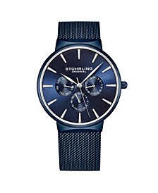 Men's Blue Mesh Stainless Steel Bracelet Watch 39mm
