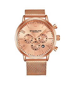 Men's Rose Gold Mesh Stainless Steel Bracelet Watch 48mm