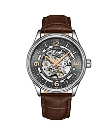 Men's Brown Leather Strap Watch 42mm