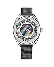 Women's Black Mesh Stainless Steel Bracelet Watch 38mm
