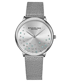 Women's Silver Tone Mesh Stainless Steel Bracelet Watch 38mm
