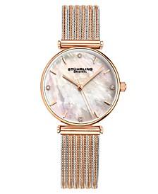 Women's Rose Gold - Silver Tone Mesh Stainless Steel Bracelet Watch 32mm