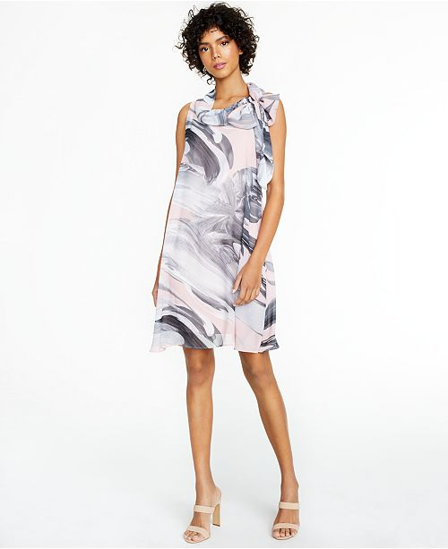 Robbie Bee Petite Chiffon Marble-Print Dress