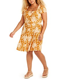 Trendy Plus Size Floral-Print A-Line Dress