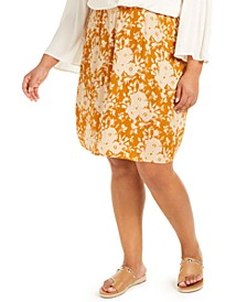 Trendy Plus Size Floral-Print Skirt