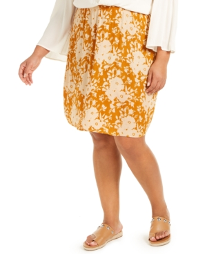 Band of Gypsies Trendy Plus Size Floral-Print Skirt