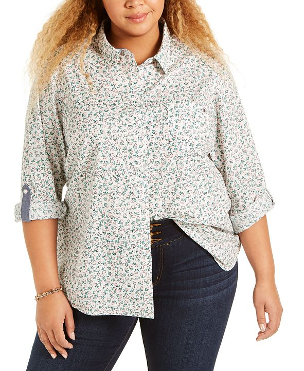 Tommy Hilfiger Plus Size Roll-Tab Shirt