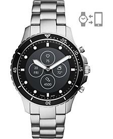 Tech Men's FB-01 HR Stainless Steel Bracelet Hybrid Smart Watch 42mm