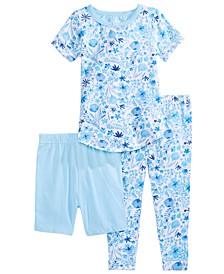 Baby & Toddler Girls 3-Pc. Printed Top, Shorts & Pants Pajama Set