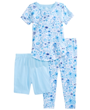 Max & Olivia Baby & Toddler Girls 3-Pc. Printed Top, Shorts & Pants Pajama Set
