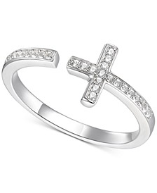Diamond East-West Cross Ring (1/8 ct. t.w.) in Sterling Silver