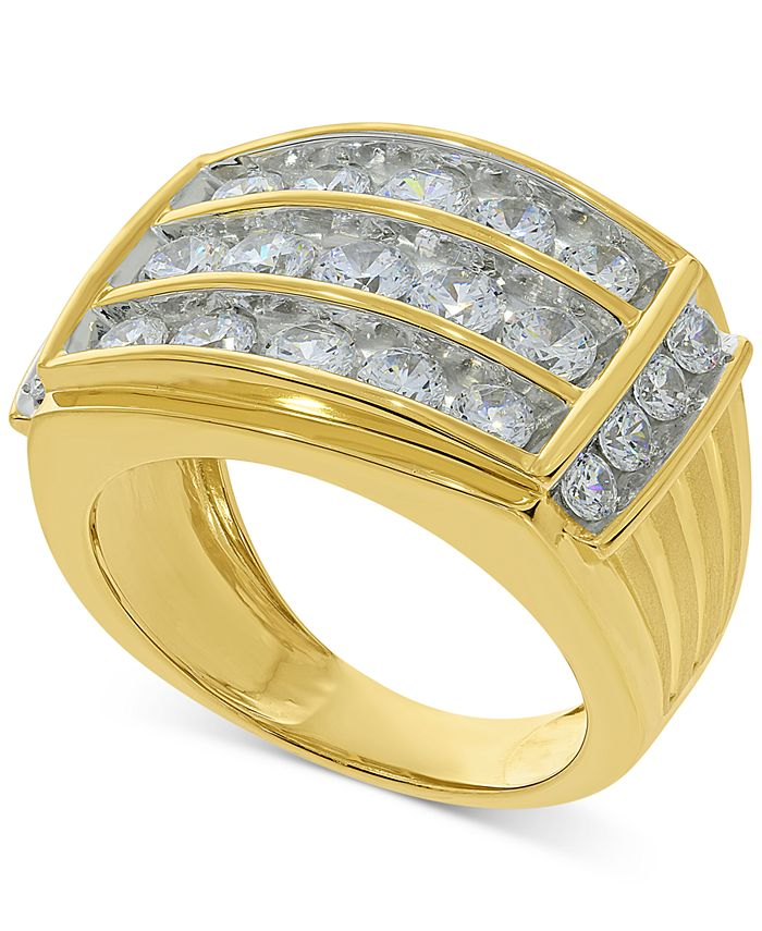 Macy's - Mens Diamond Three-Row Ring (3 ct. t.w.) in 10k Gold