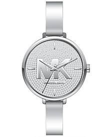Women's Silver-Tone Half Bangle Bracelet Watch 38mm