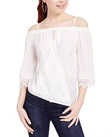 Juniors' Off-The-Shoulder Wrap Top