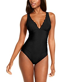 Merrow Ruffle Solid Shirred One-Piece Swimsuit