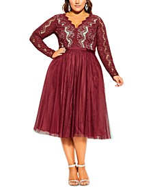 Trendy Plus Size Rare Beauty Lace & Tulle Dress