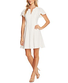 Flutter-Sleeve Pleated-Front Dress