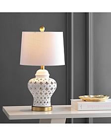 """Quatrefoil Fretwork 20.5"""" Pierced Ginger Jar Ceramic, Led Table Lamp"""