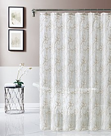 "Rita 70"" x 72"" Chenille Embroidered Shower Curtain"