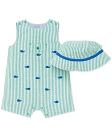 Baby Boys 2-Pc. Cotton Striped Hat & Whale Sunsuit