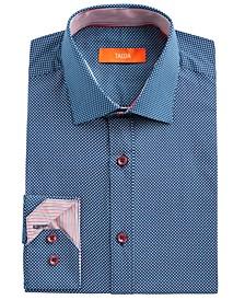Men's Slim-Fit Performance Stretch Navy Blue Star-Print Dress Shirt