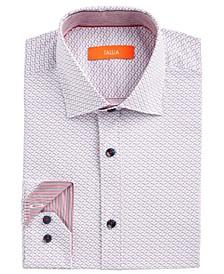 Men's Slim-Fit Performance Stretch White Star-Print Dress Shirt
